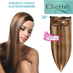 """Clip-in Synthetic Hair Extensions 24"""" (60cm) 9pcs"""