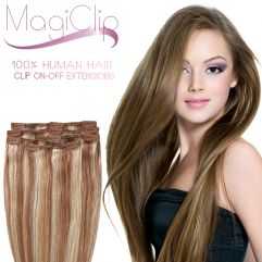 MagiClip Human Hair Clip-On Off Extensions 45cm